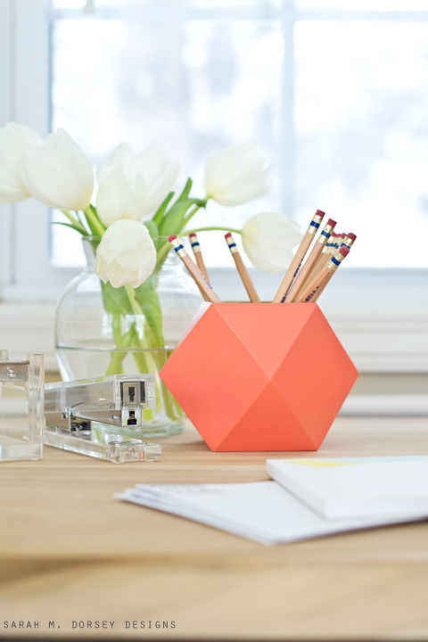 DIY Geometric Pencil Cup | Sarah M. Dorsey Designs + Dream Green DIY