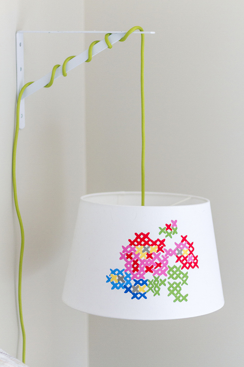 DIY Painted Cross Stitch Lamp Shade | Dream Green DIY