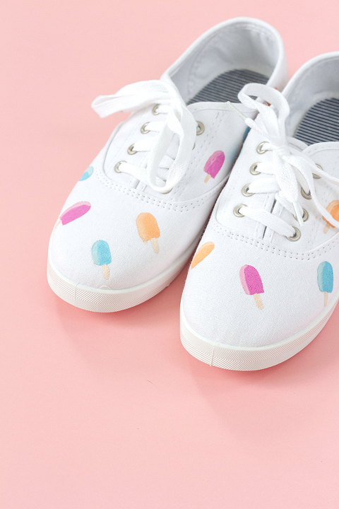 DIY Hand Painted Popsicle Canvas Shoes | Dream Green DIY