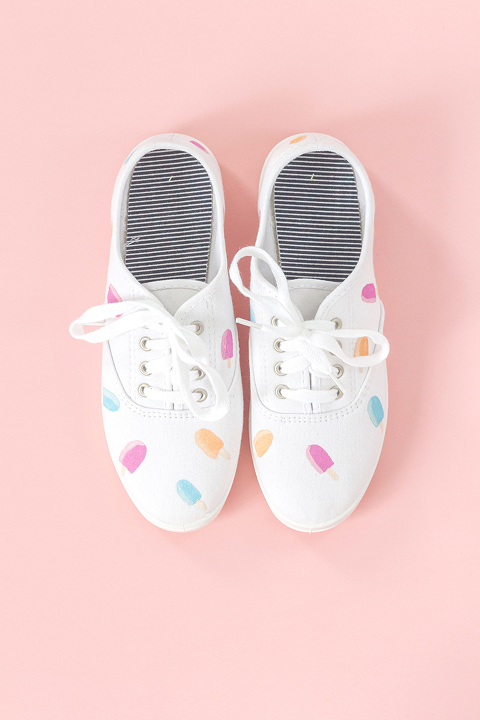 DIY Hand Painted Popsicle Canvas Shoes