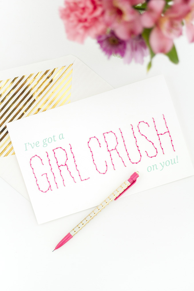 diy girl crush stitched valentine card dreamgreendiycom