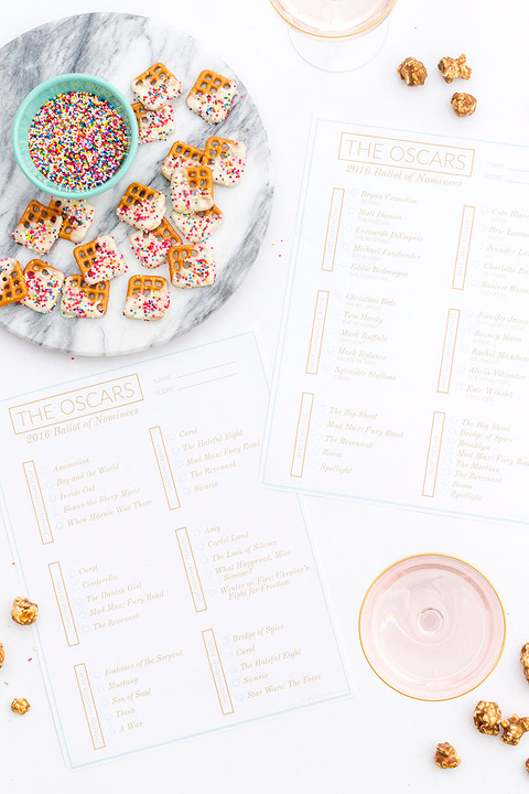 Printable Oscars 2016 Ballot For @glitterguide | dreamgreendiy.com