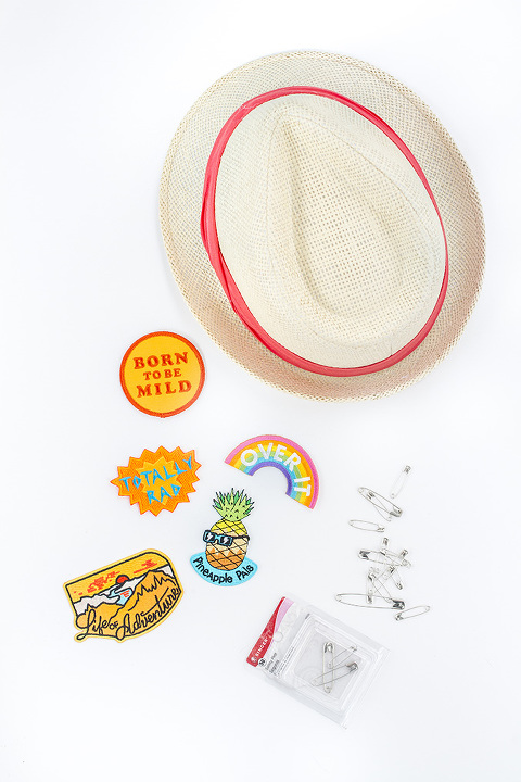 DIY Semi-Permanent Patched Straw Hat | dreamgreendiy.com