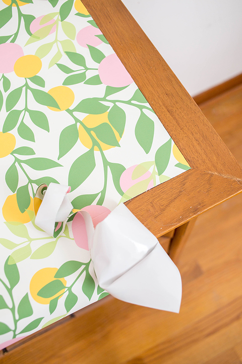 DIY Wallpaper-Embellished Dresser | dreamgreendiy.com + @spoonflower