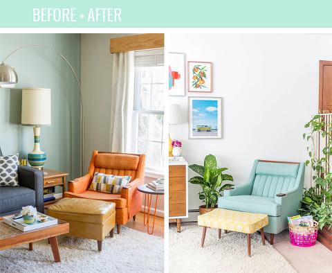 Reupholstered Mid-Century Lounge Chair Makeover   dreamgreendiy.com + @buyfabrics