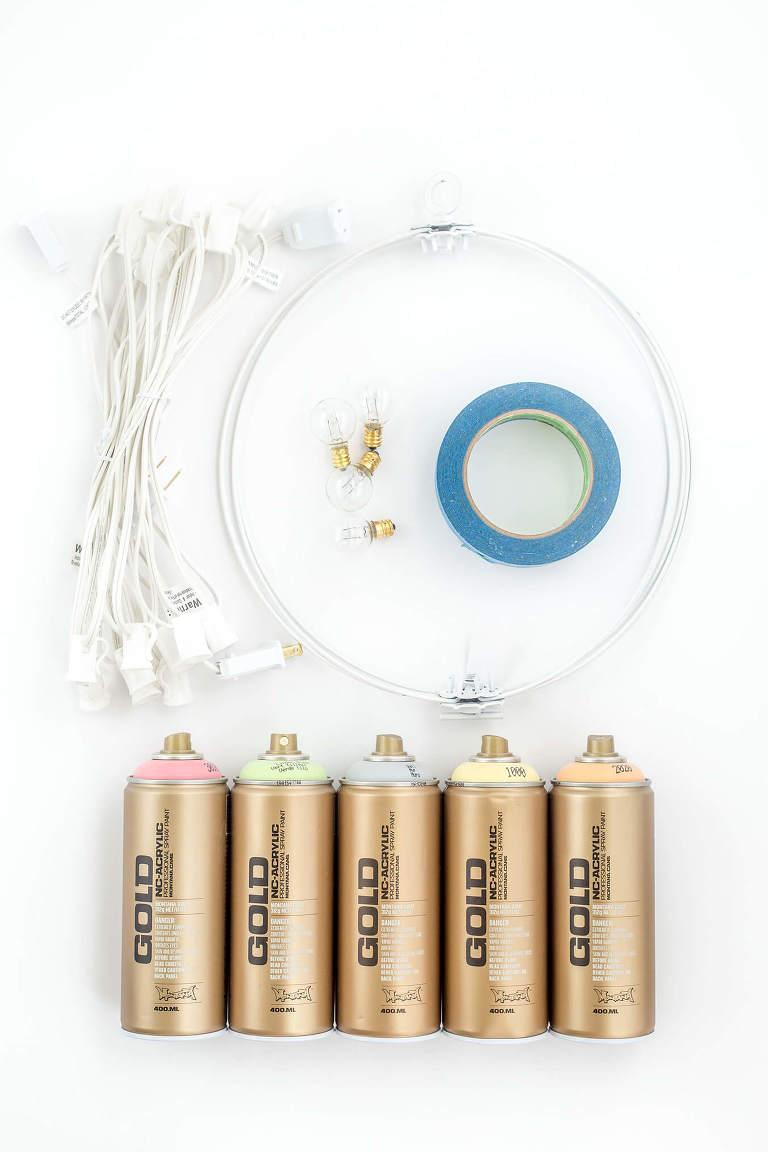 DIY Portable Industrial Color Pop Chandelier   dreamgreendiy.com + @lightsforall