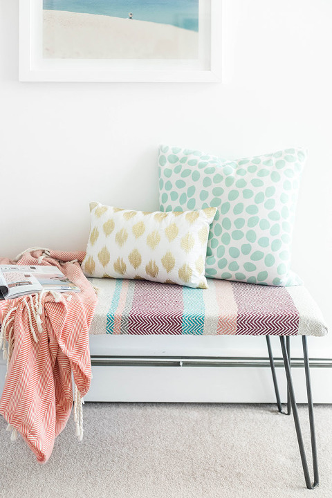 Diy Cotton Upholstered Hairpin Leg Bench Dreamgreendiy Refinery29 Discovercotton