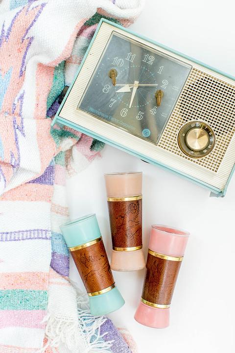 Vintage Blanket, Blue Clock & Tiki Glass Set