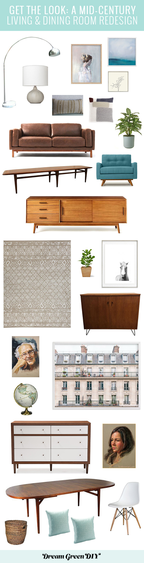 Plans For Our Mid-Century Living & Dining Room Redesign | dreamgreendiy.com + @minted