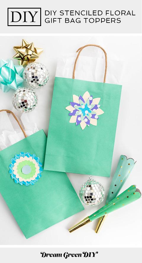 DIY Stenciled Floral Gift Bag Toppers | dreamgreendiy.com + @orientaltrading