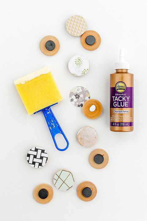 DIY Patterned Scrapbook Paper Magnets