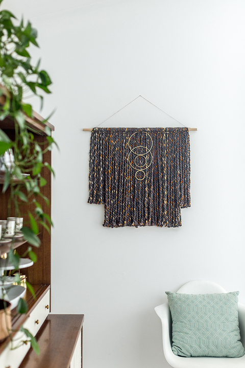 DIY Yarn Wall Hanging With Brass Rings