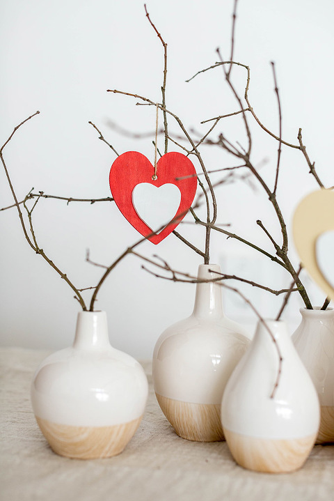 DIY Valentine's Day Wood Heart Ornament Tree | dreamgreendiy.com + @orientaltrading