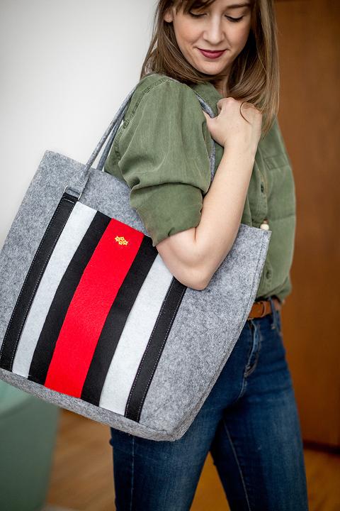 DIY Look-A-Like Designer Striped Felt Tote