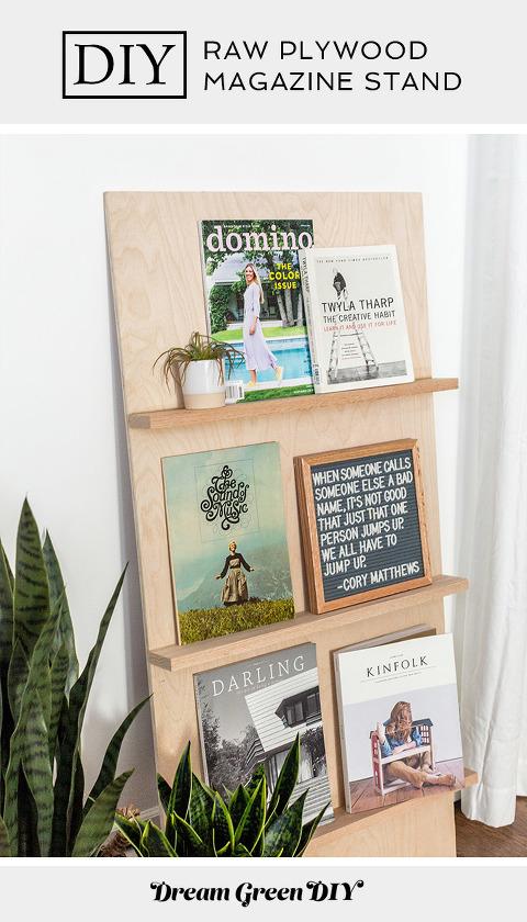 DIY Free-standing Plywood Magazine Rack