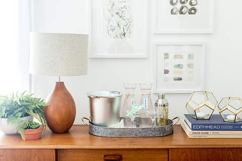 How To Create A Bar Cart Vignette Without A Cart | dreamgreendiy.com + @orientaltrading