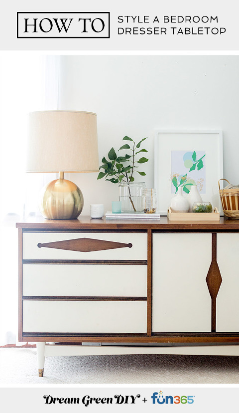 How To Style A Bedroom Dresser Tabletop | dreamgreendiy.com + @orientaltrading #ad
