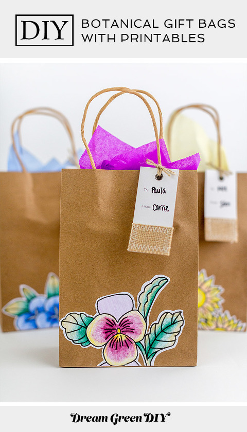 DIY Botanical Gift Bags with Printables | dreamgreendiy.com + @orientaltrading #ad