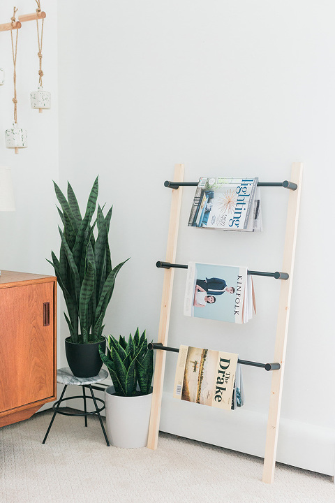 DIY Wood And Metal Ladder Shelf