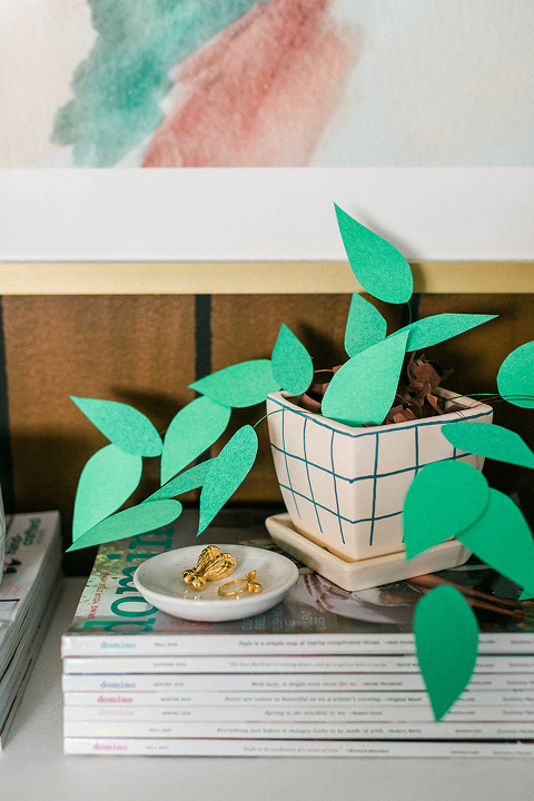 DIY Paper Plant With Grid Planter Pot
