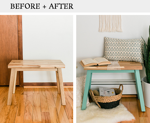 Upgrade An IKEA Bench With Paint And Rope
