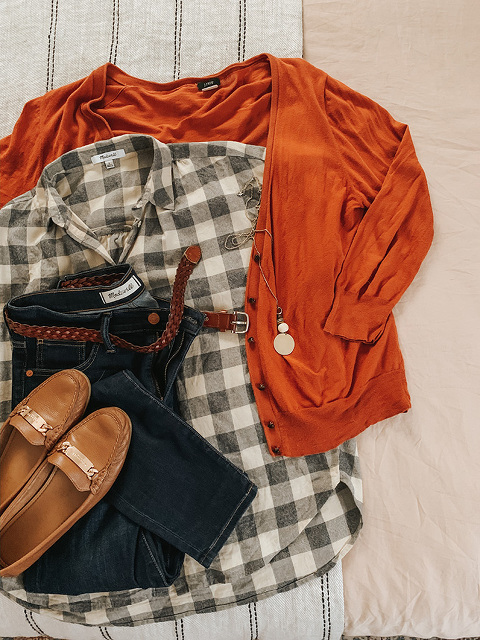 Rust colored J.Crew cardigan