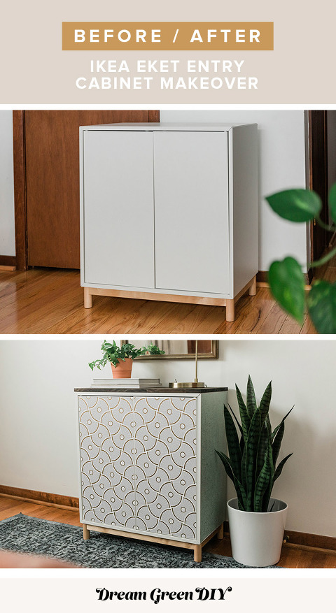 Before and after IKEA entry cabinet project