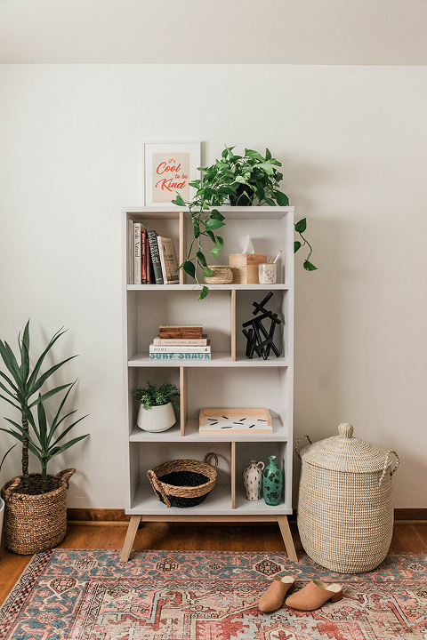 AllModern Bookshelf Entryway Makeover | dreamgreendiy.com + @allmodern #ad