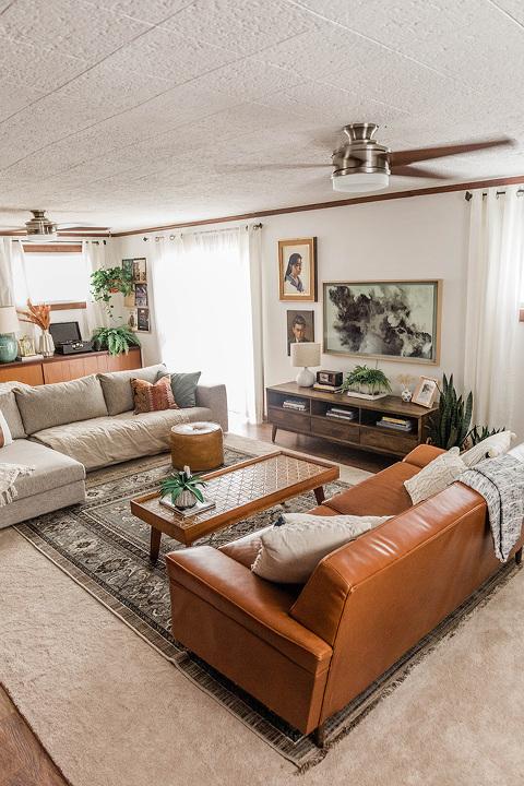 Mid-century boho living room décor