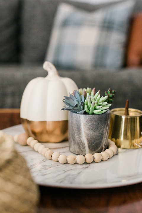Ceramic white and gold pumpkin for fall